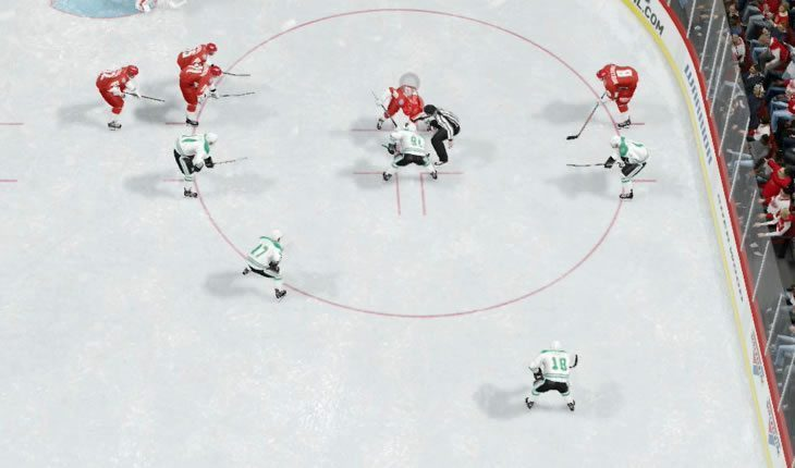 Aggressive faceoff in the offensive zone