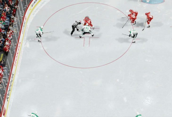Defensive faceoff formation in the offensive zone NHL 19