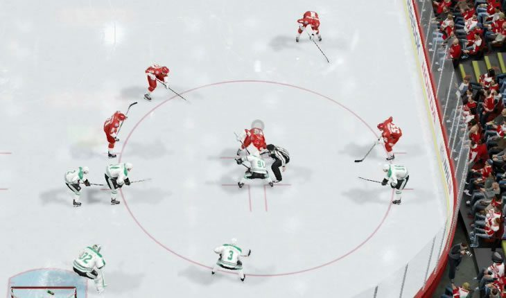 NHL 19 faceoff in the defensive zone using normal faceoff formation