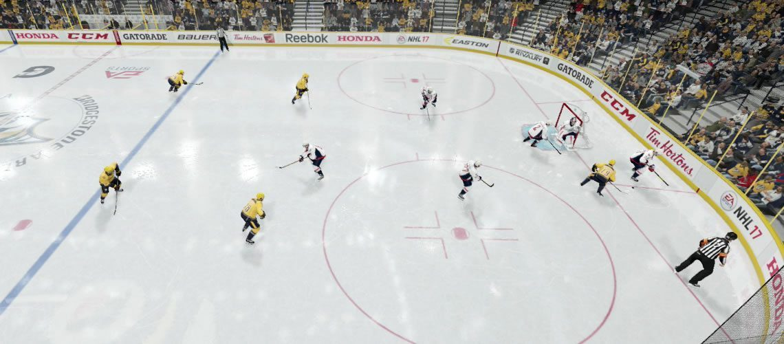 image depicting a 1-2-2 passive forecheck in NHL 19. 1 player deep, 2 mid, and 2 high