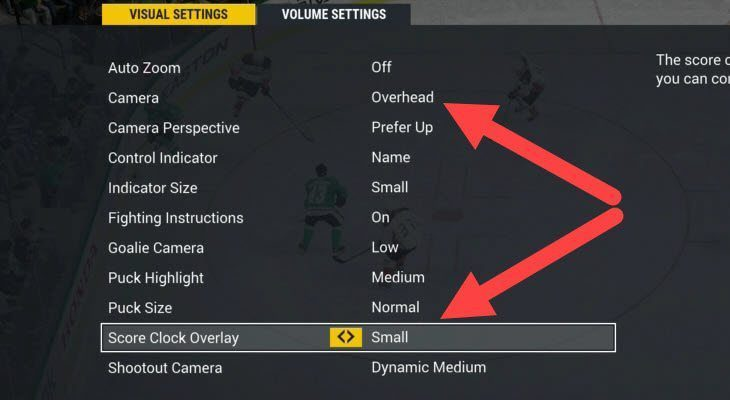 NHL 17 small and overhead score clock/view settings