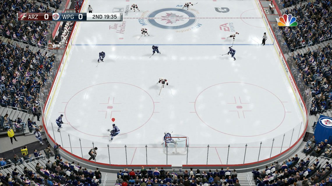 Zone camera angle from defensive end in NHL