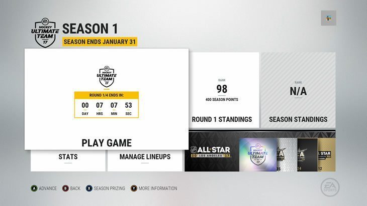 HUT Competitive Seasons Round 1 menu