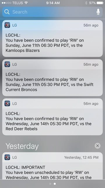 A few examples of LG app notifications you may receive