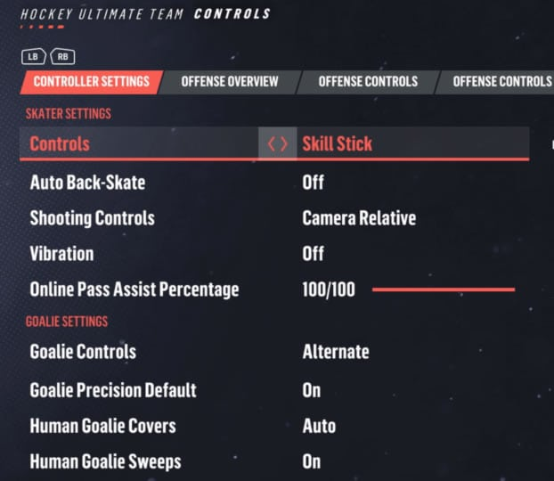 NHL 19 Controller Settings